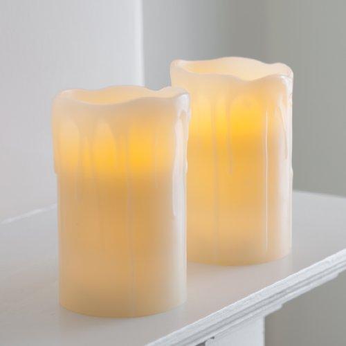 Lights4fun 2er Set LED Kerzen Echtwachs mit Timer batteriebetrieben