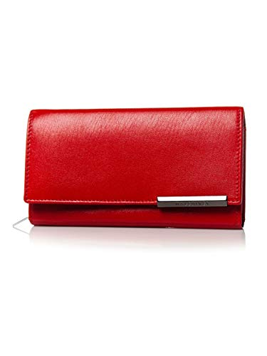 BOLF Damen Geldbörse Damen Leder RFID Geldbeutel Portemonnaie Brieftasche Geldtasche Frauen Echtleder Accessiore MALEDIVES 2689 Rot OS [W1W]