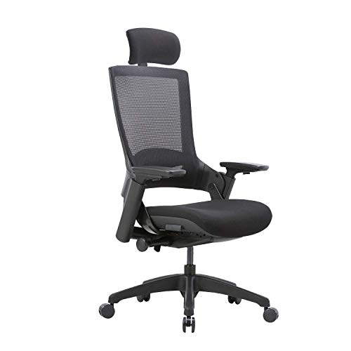 CLATINA Ergonomic High Swivel Executive Chair with Adjustable Height Head 3D Arm Rest Lumbar Support and Upholstered Back for Home Office Black Mesh/High Back