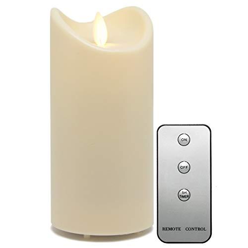 Tronje LED Outdoor Kerze - 15cm Stumpenkerze Creme-Weiß mit Timer u. Fernbedienung - bewegliche Flamme - IP44 UV Hitzebeständig