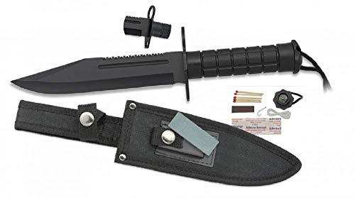KS-11 Rambo Messer mit viel Zubehör, Kompass, Angel, Streichholz (Feuer) und Einer Säge mit Messertasche in schwarz