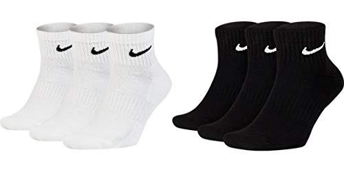 Nike 6 Paar Herren Damen Kurze Socke Knöchelhoch Weiß Schwarz Sparset SX7667 Everyday Cotton Cushioned Ankle Sportsocken Größe 34 36 38 40 42 44 46 48 50, Farbe:weiß schwarz, Sockengröße:46-50