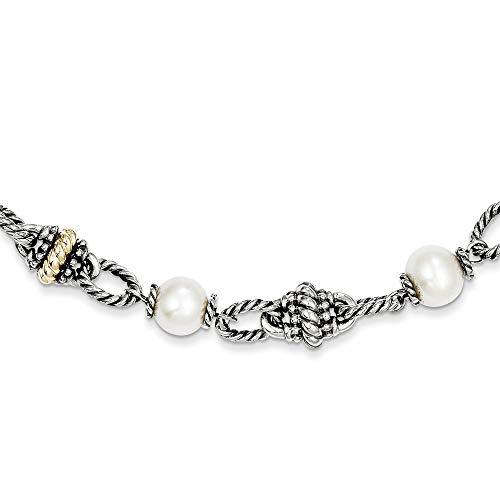 Broche de plata de ley con 14ct 8 mm y perla cultivada 45,72 cm collar con colgante en forma - JewelryWeb