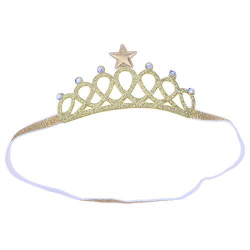 Bandeaux pour cheveux couronne de bébé paillettes diadème de nouveau-né enfant en bas âge Princesse Accessoires de cheveux pour la photographie de fête d'anniversaire de naissance (or)
