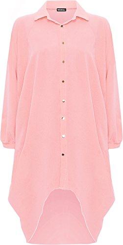 WearAll Damen Übergröße Batwing Hemd Kleid Lang Hülle Tauchen Saum Hi Es Schaltfläche Kragen Damen - Pfirsich - 44-46