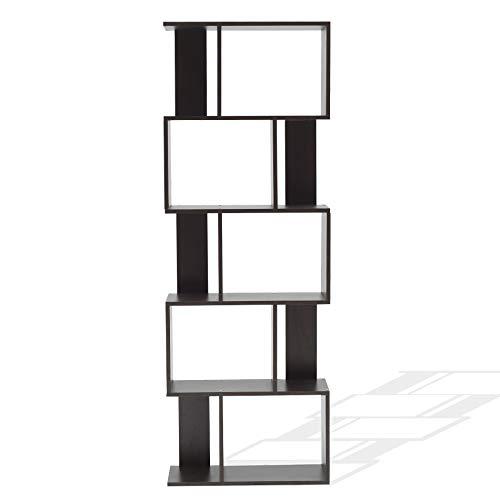 Rebecca Mobili Mueble Biblioteca De 5 Compartimentos Madera Design Moderno Marrón Wengué Estudio Dormitorio - 169 x 60 x 24 cm (AxANxFON) - Art. RE6030
