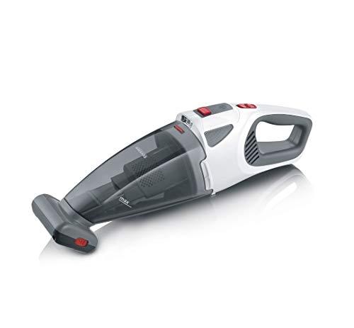 SEVERIN 4-in-1 Akku-Handstaubsauger, kabelloser Handstaubsauger für Autositze, Tierhaare und Flüssigkeiten, Akkustaubsauger mit bis zu 30 Minuten Laufzeit, weiß-grau/rot, HV 7146