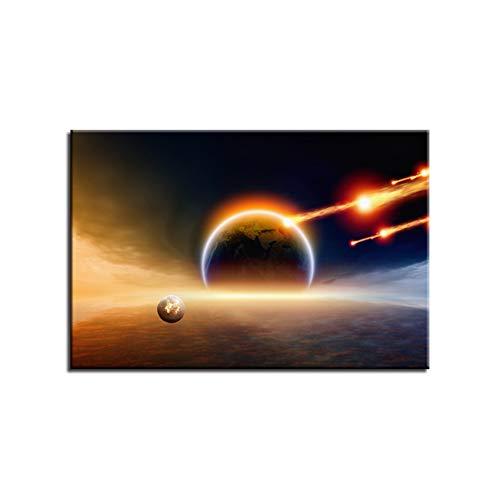 sjkkad aarde meteorieten, schilderkunst, abstracte cosmische ruimte, planetten, posters, canvas, muurkunst, HD-drukken, foto's, wooncultuur, 60 x 90 cm, geen lijst