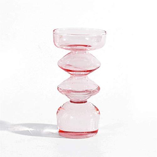 Glasvase Vierschichtige Vase, Dekorative Blumenpflanze Höhe 16.5CM Handgefertigte Deko-Vase in Rose, für Hochzeiten Party Events Büro oder Dekorieren Wohnzimmer Home Decor