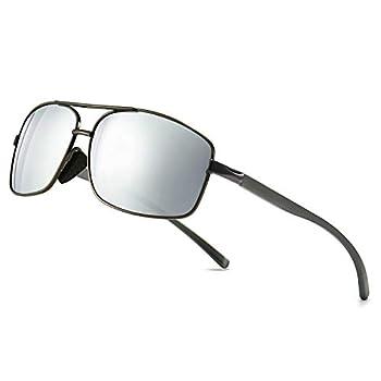 SUNGAIT Ultra Lightweight Rectangular Polarized Sunglasses UV400 Protection  Gunmetal Frame Silver Mirror Lens 62  Metal Frame 2458QKSY