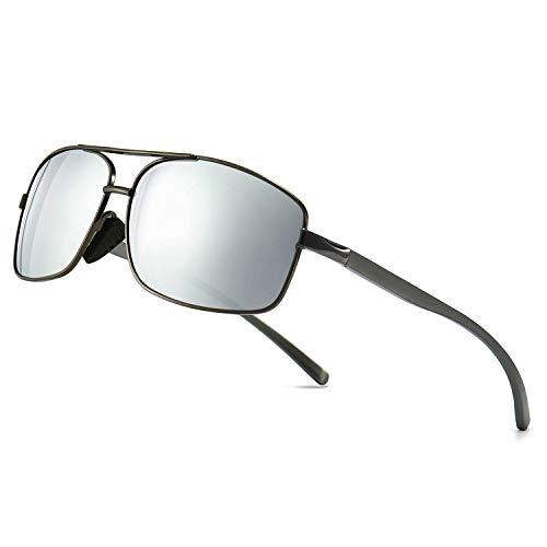 SUNGAIT Ultra Lightweight Rectangular Polarized Sunglasses UV400 Protection (Gunmetal Frame Silver Mirror Lens, 62) Metal Frame 2458QKSY