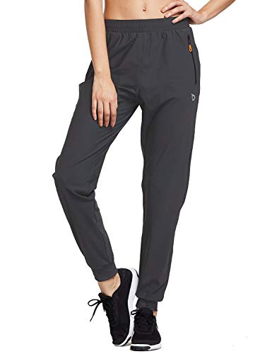 BALEAF Women's Athletic Joggers Pants Quick Dry Running Sweat Pants Zipper Pockets Lightweight Sports Track Pants Dark-Grey Size M