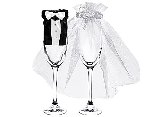 PartyDeco Champagnerglas Sektglas Hochzeitsdekoration Glasdekoration Braut & Bräutigam Hochzeitsdekoration Hochzeitskleid Hochzeitskleid Hochzeitsanzug Tischdekoration