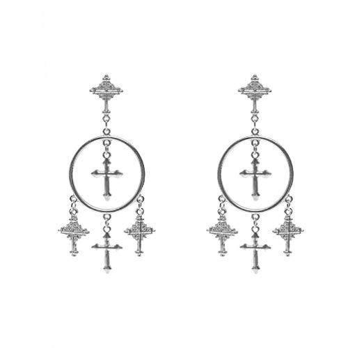Vintage stijl legering gesneden kruis kwast oorbellen Ear-drop hangende dropping voor vrouwen Dangle Drop Vintage sieraden accessoire Zilver