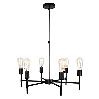 Lingkai Industrial Chandelier Light Fixture 6-Light Ceiling Lighting Hanging Pendant Light for Living Room Dining Room Kitchen