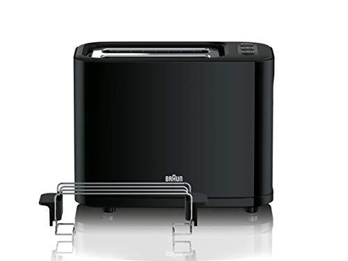 Braun HT 3010 BK Toaster | Doppelschlitz | Herausnehmbare Krümelschublade | Aufwärm- und Auftaufunktion | 7 Röstgrade | Separater Brötchenaufsatz | Schwarz