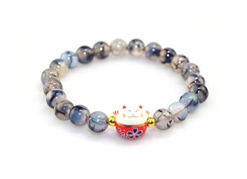 Bracelet Japonais Maneki Neko (招き猫) Porte Bonheur Perles Naturelles marbrée Anthracite...