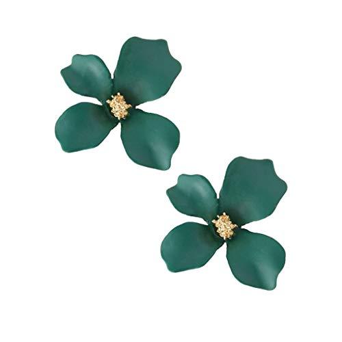 Baoblaze 1 Par de Mujeres de Moda de Cristal de Metal Ciruela Flor Pendientes Joyas Pendientes de Oreja - Verde, tal como se describe