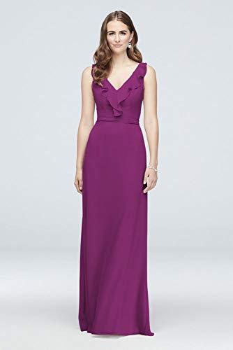 David's Bridal Ruffled Tank Crinkle Chiffon Bridesmaid Dress Style F19895, Raspberry, 14