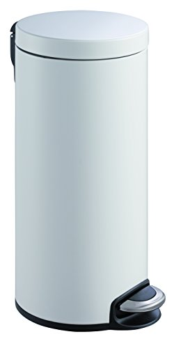 EKO Serene Poubelle à Pédale Métal Blanc 36,6 x 29,2 x 65 cm 30 litres