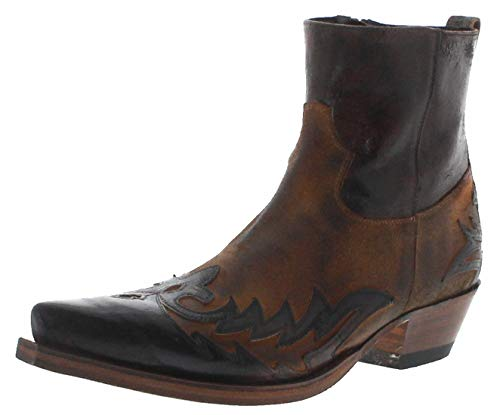 Sendra Boots Herren Cowboy Stiefel 16698 Quercia Camello Lederstiefelette Westernstiefelette Braun 43 EU