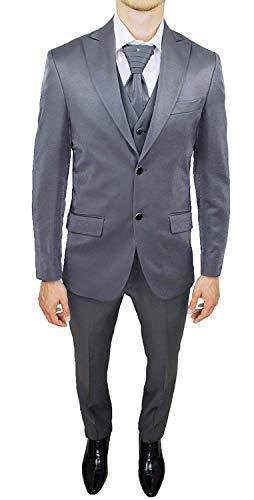 FB CLASS Abito Da Sposo Completo Sartoriale Uomo Grigio Nuovo Vestito Gilet E Cravatta Made In Italy (52)