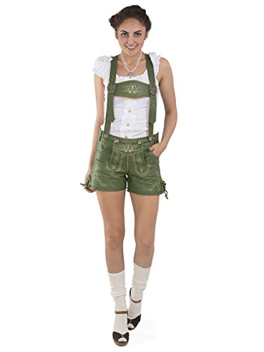 Damen Lederhose Alpengrün kurz - Trachtenlederhose Oktoberfest Vintage Lederhose Büffelleder (34, grün)