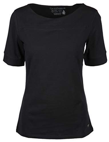 s'questo Damen Shirt mit U-Boot Ausschnitt Größe 38 EU Schwarz (schwarz)