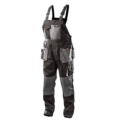 NEO TOOLS Profi Arbeitslatzhose schwarz/grau (Neo), Latzhose Arbeitskleidung Arbeitshose (56.0)