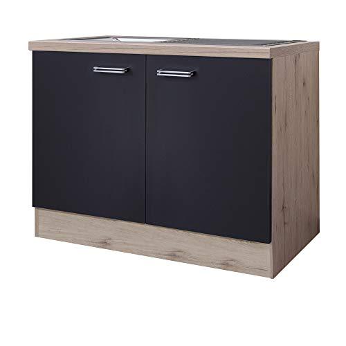 MMR Küchen-Spülenschrank LONDON - Unterschrank - mit Spülbecken - 2-türig - Breite 100 cm - Anthrazit