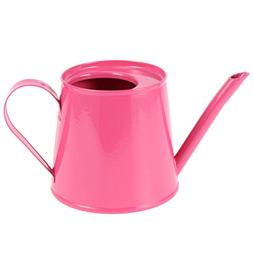 Cabilock - Mini regadera de metal con mango de hierro para la limpieza de plantas de jardín para niños, color rosa