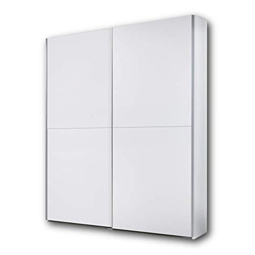 Stella Trading PULS Eleganter Kleiderschrank mit viel Stauraum - Vielseitiger Schwebetürenschrank in weiß, schachbrett weiß - 170 x 195 x 58 cm (B/H/T)