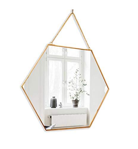 BEACH'D 16' Large Hexagon Gold Brass Wall Mirror with...