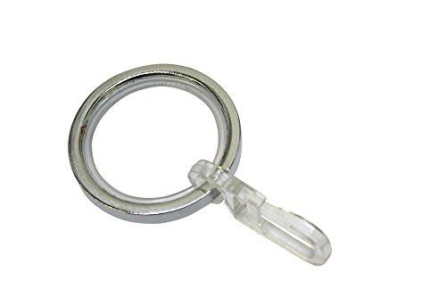 Gardinia Gardinenringe für Gardinenstangen mit 20 mm Durchmesser, Inklusive Gleiteinlage und Faltenlegehaken, 10 Stück, Serie Chicago, Breite 4 mm, Metall, Chrom