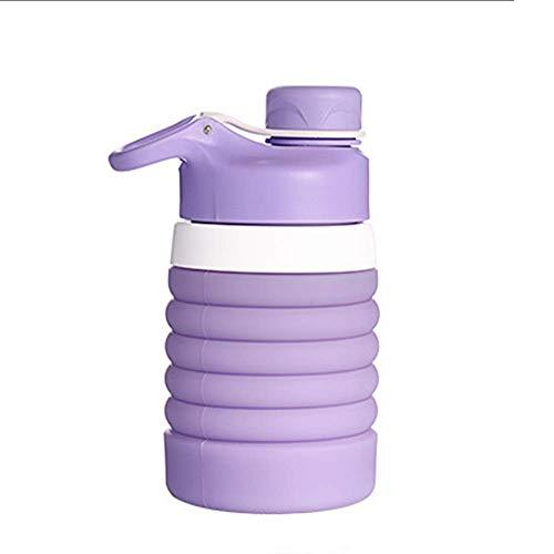 ZYDY Draagbare siliconen inklapbare sportfles geschikt voor outdoor travelcarry water cupoutdoor sport vouwen waterfles 750ml Licht Paars