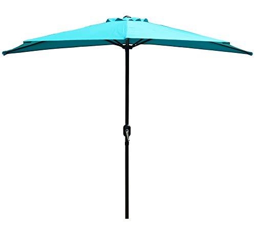 Kozyard 9 Ft Half Round Outdoor Patio Market Umbrella with 5 Ribs for Balcony Deck Garden or Terrace Shade (BLUE)