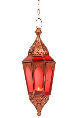 Orientalisches Windlicht Laterne Glas Lalita Rot 41 cm groß   Orientalische Glas Teelichthalter Hängewindlicht mit Henkel orientalisch   Marokkanische Windlichter hängend als Hängewindlichter