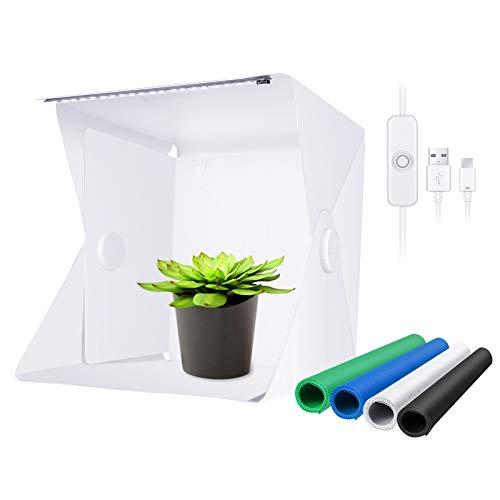 Neewer Mini Foto Etudio Caja 22cm Tienda de Luz Portátil para Fotografía Softbox de Iluminación Plegable con 1 Tira de LED 20 Cuentas de LED SMD y 4 Fondos para Exhibición de Productos No Regulable