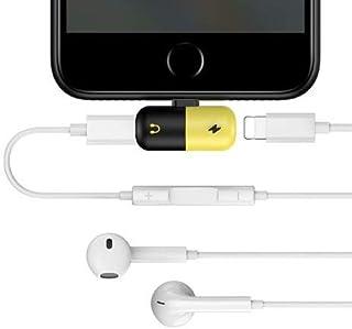 【grepo】iPhone 用 イヤホン 充電しながら イヤフォン 使用 変換アダプター アイフォーン iPhone8 8Plus 7 7Plus X Xr XS Xs Max 充電 音楽 通話 データ転送 ライトニング 4in1 変換器 専用 黄色黒色