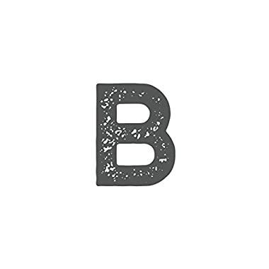Farmhouse Distressed Single Letter Cutout Vintage Ready To Hang Wall Monogram Home Decor, Gray (B) (Aluminum) (7 Inch)