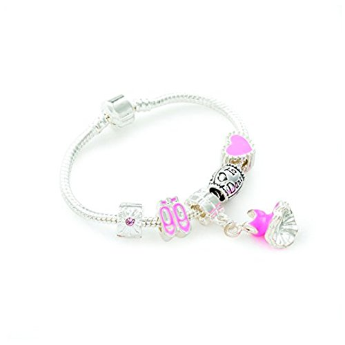 Bling Rocks Liberty Charms Childrens 'Love to Dance' Silver Plated Charm Bead Bracelet.with Gift Box 15cm (Other