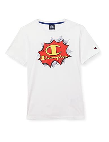 Champion Seasonal Graphic Shop Comics Crewneck T-Shirt, Bianco, 13-14 Anni Bambina
