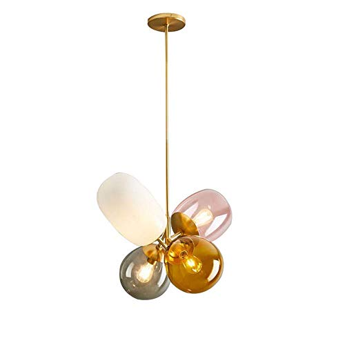 HLJ Farbe Glaspendelleuchte 4-Beleuchtung Haupt Morden Ballon-Leuchter kreative Persönlichkeit Schlafzimmer der Kinder Restaurant Cafe Hängelampen Kronleuchter