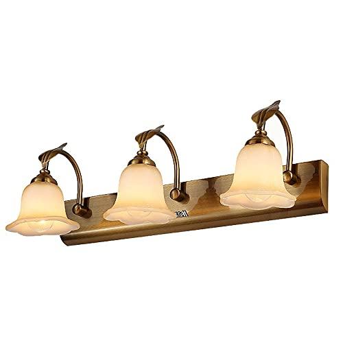 sfbld Lámpara De Espejo De Tocador De Baño Americano 丨 Lámpara De 3 Lámparas con Pantalla De Cristal Pétalo Lámpara De Pared 丨 Lámpara De Pared De Chapa De Bronce Cepillado Baño Interior