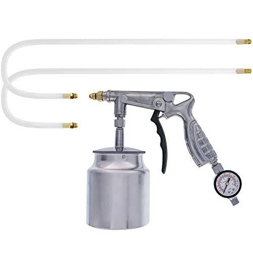 TCP Global Air Rust Proofing and Undercoating Gun with Gauge & Suction Feed Cup - Includes 22' Long Flexible Extension Wand with Multi-Directional Nozzle - Spray Truck Bed Liner, Rubberized Undercoat