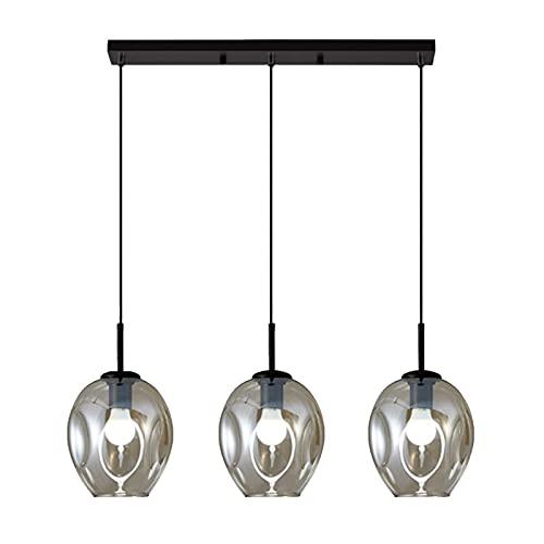 YQG Lámpara Colgante Minimalista Moderna de 3 Luces, lámpara Colgante de Vidrio y Metal Negro E27, Accesorio de iluminación de Techo Tipo Loft para Sala de Estar, Dormitorio (Recto, Color coñac)