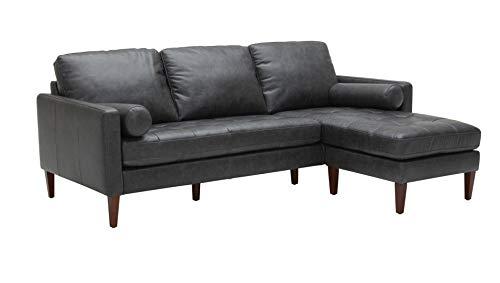 "Amazon Brand – Rivet Aiden Mid-Century Modern Reversible Sectional Sofa (86"") - Black Leather"