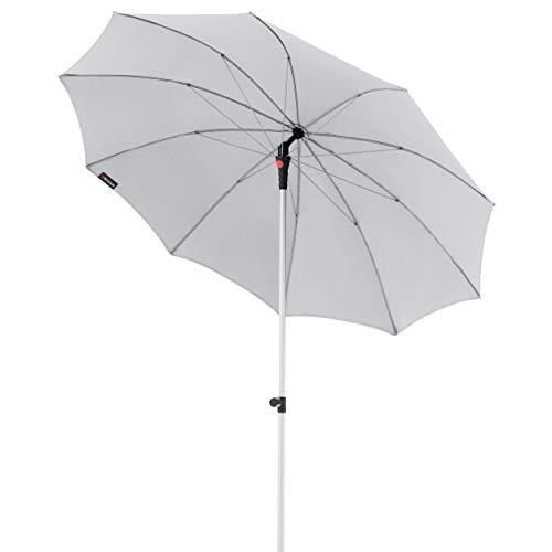 Knirps Sonnenschirm Manual - Eleganter, sehr Leichter Gartenschirm - Stufenlos knickbar - Starker UV-Schutz - 220 cm - Hellgrau