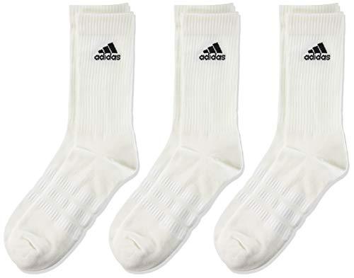adidas CUSH CRW 3PP Socks, Unisex adulto, White/White/Black, L
