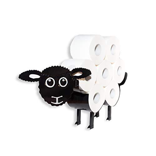 Portarotolo di carta igienica, supporto in metallo, montaggio a parete, autoportante, design a forma di pecora, per il bagno, fino a 7 rotoli di carta nera